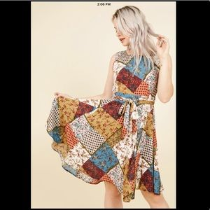 Rayon Patchwork-Style Dress